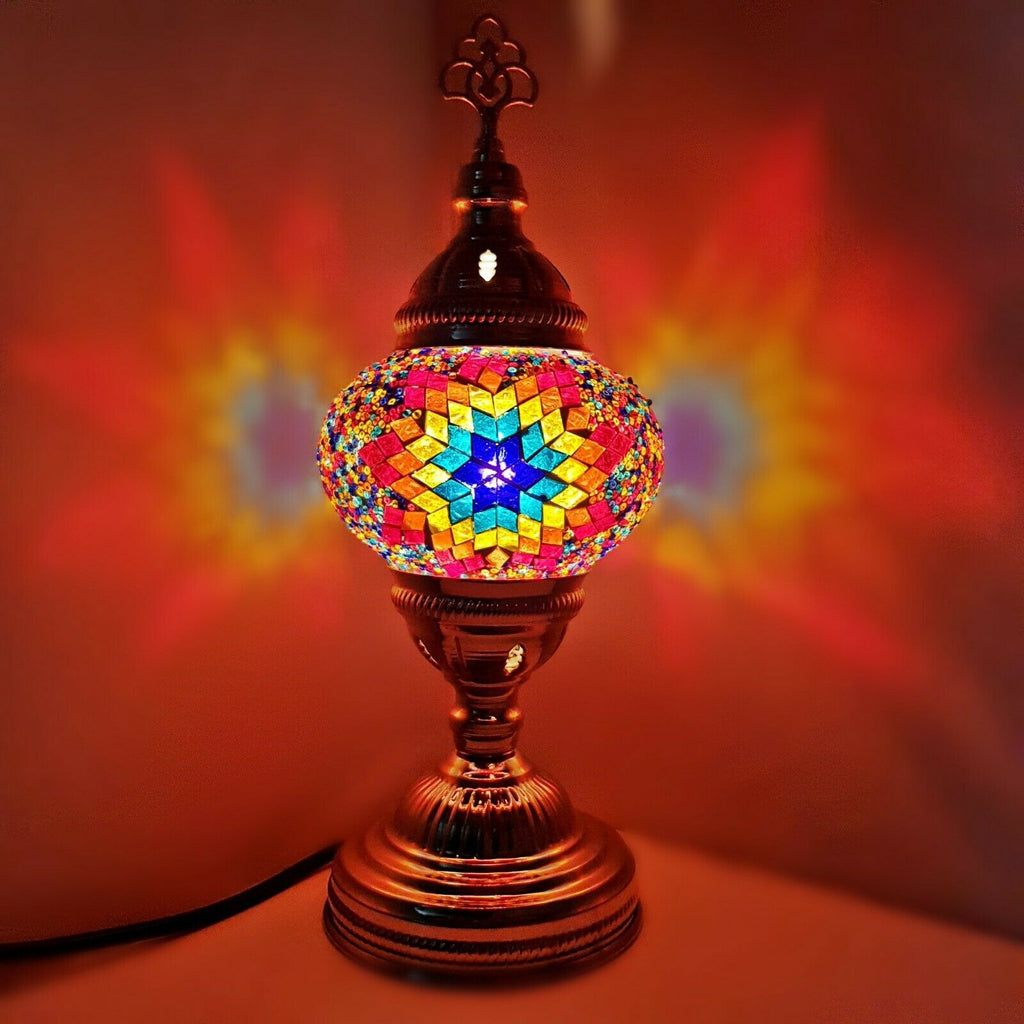 SILVER MOSAIC TABLE LAMP GLOBE HANDMADE GLASS MOROCCAN TURKISH HOME BEDROOM