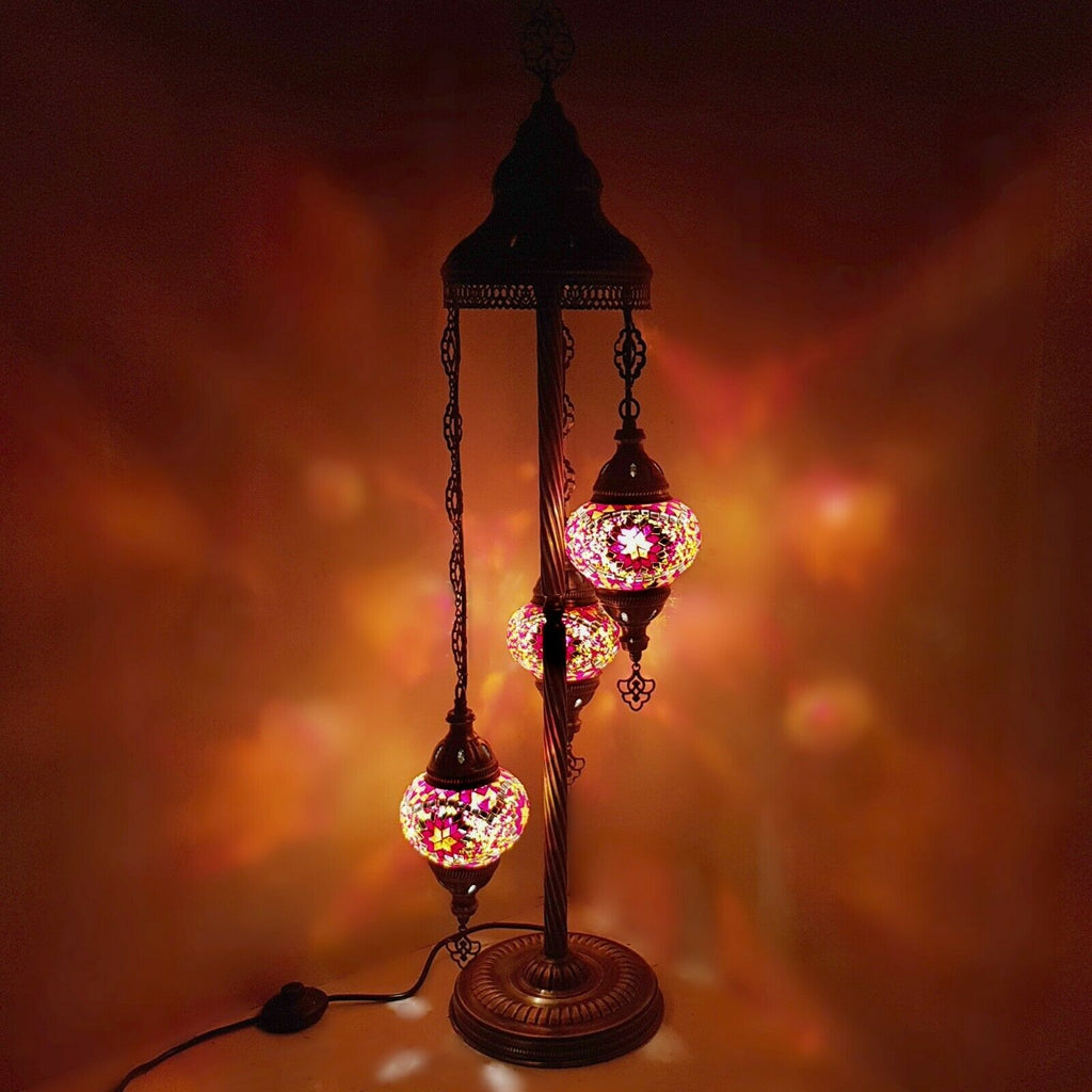 3IN1 Handmade Turkish Moroccan Style Floor Lamp Light