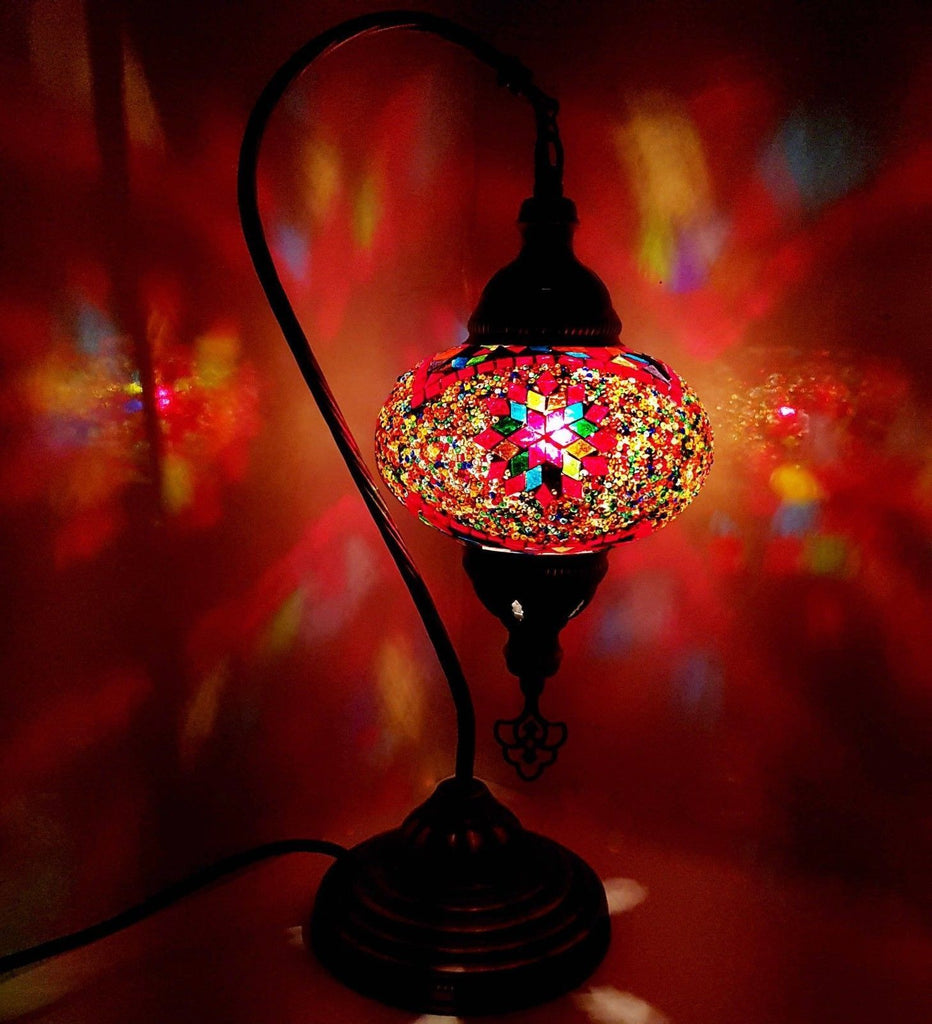 Handmade Turkish Moroccan Arabian Eastern Bohemian Tiffany Style Glass Mosaic Beautiful Table Lamp Lamps Home Decor Large