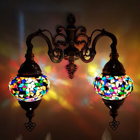 Handmade Turkish Moroccan Arabian Eastern Bohemian Tiffany Style Glass Mosaic Beautiful Double Light Home Decor