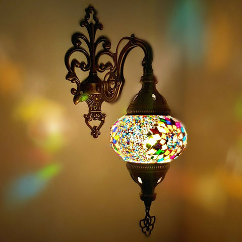 Handmade Turkish Moroccan Arabian Eastern Bohemian Tiffany Style Glass Mosaic Beautiful Single Light Home Decor