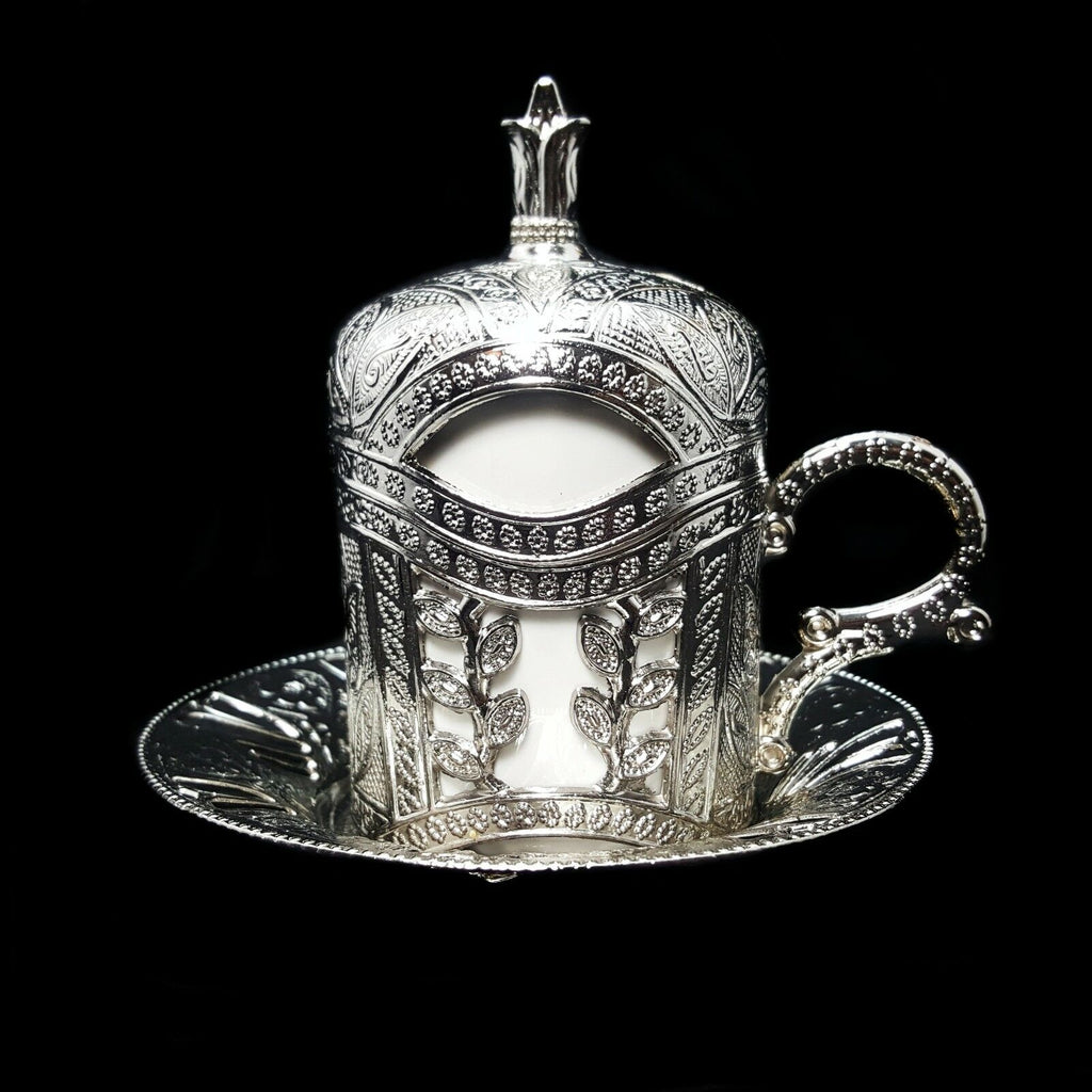 Ottoman Turkish Silver Metal Tea Coffee Saucers Cups Tray Set