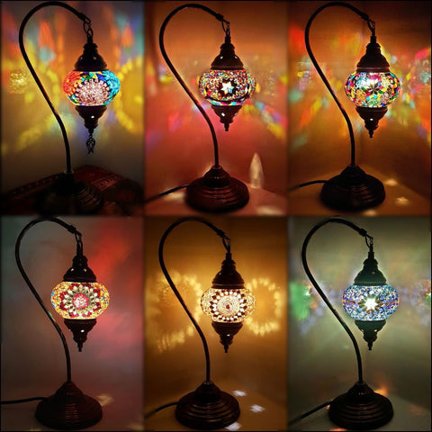 Handmade Turkish Moroccan Arabian Eastern Bohemian Tiffany Style Glass Mosaic Beautiful Table Lamp Lamps Home Decor