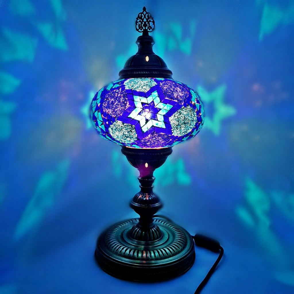Handmade Extra Large Turkish/Moroccan/Tiffany Style Glass Mosaic Desk Table Lamp Light 45 Centimeter Tall