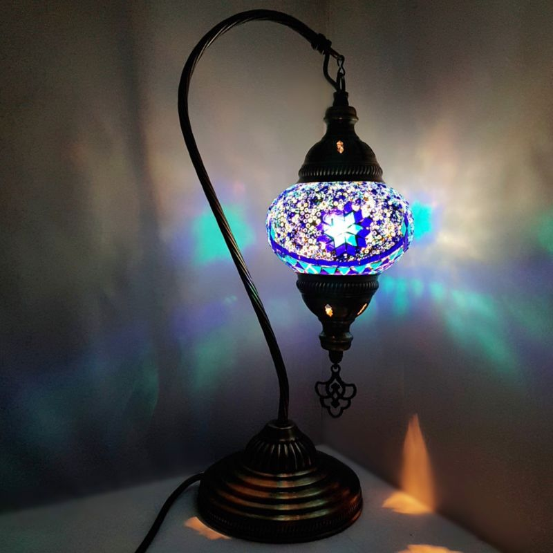 Handmade Bronze Turkish Mosaic Glass Table Lamps - S Neck