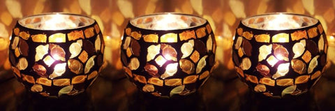 Turkish Moroccan Style Golden Glass Candle Holder