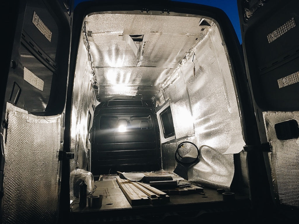 Silver foil bubblewrap insulation in a sprinter campervan conversion
