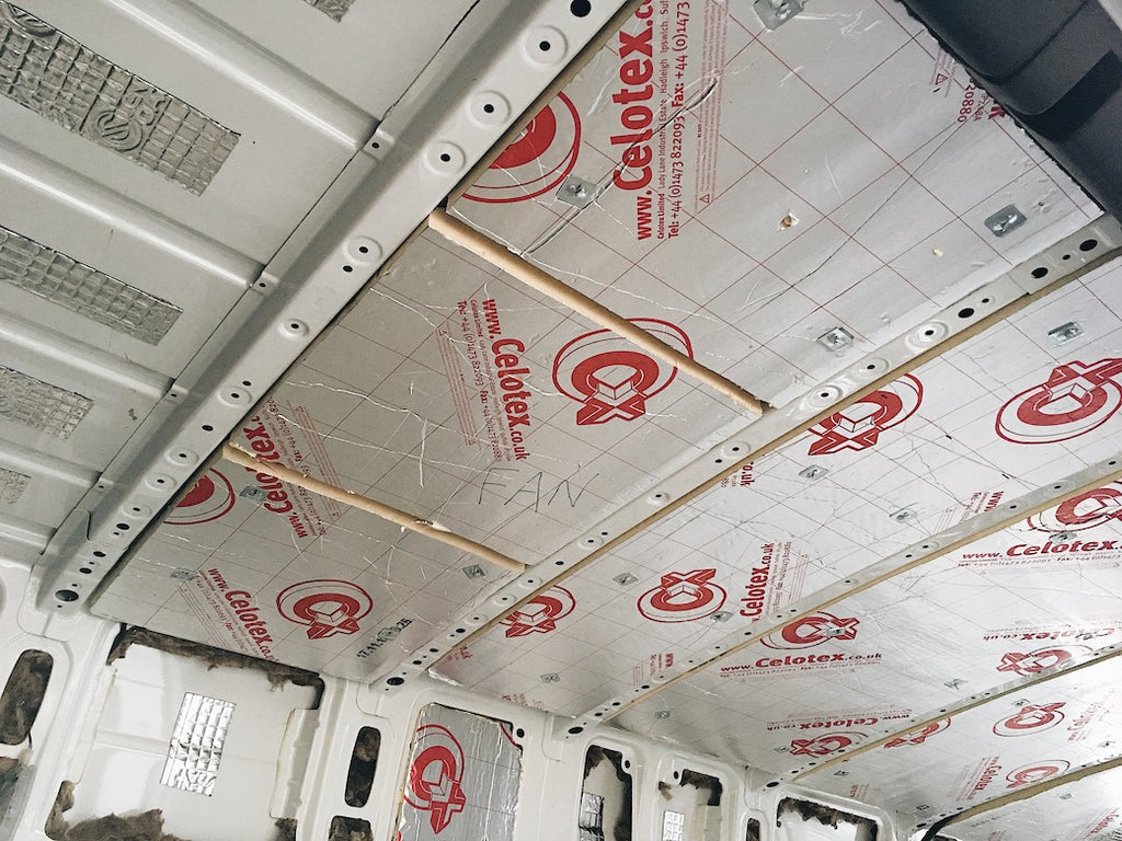 Celotex insulation in the ceiling and walls of a sprinter campervan conversion