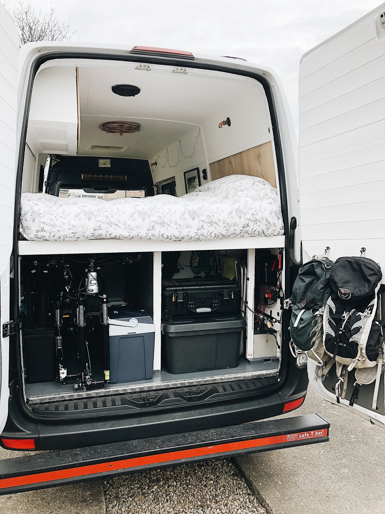 Living full time in a sprinter Campervan garage storage