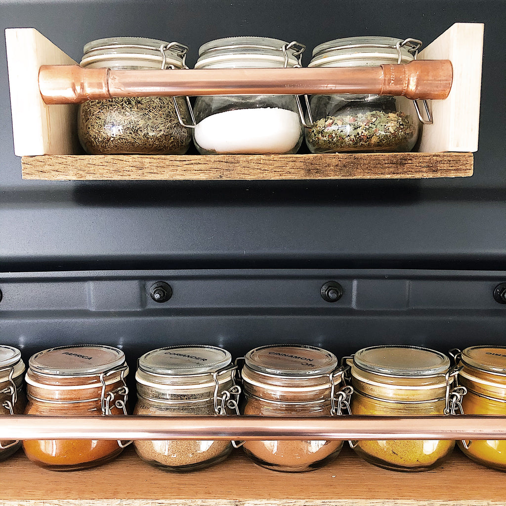 spice shelf storage idea for campervan space saving