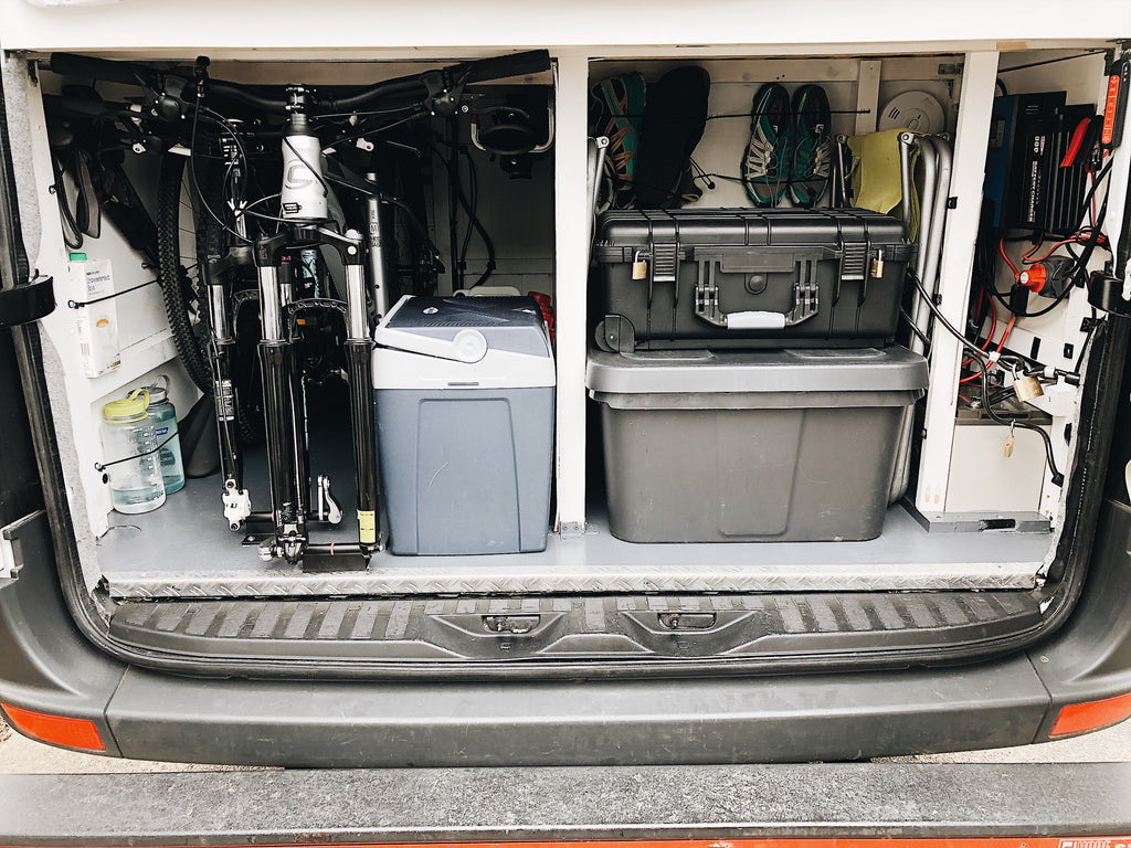 Garage storage space in a self build campervan with bike storage