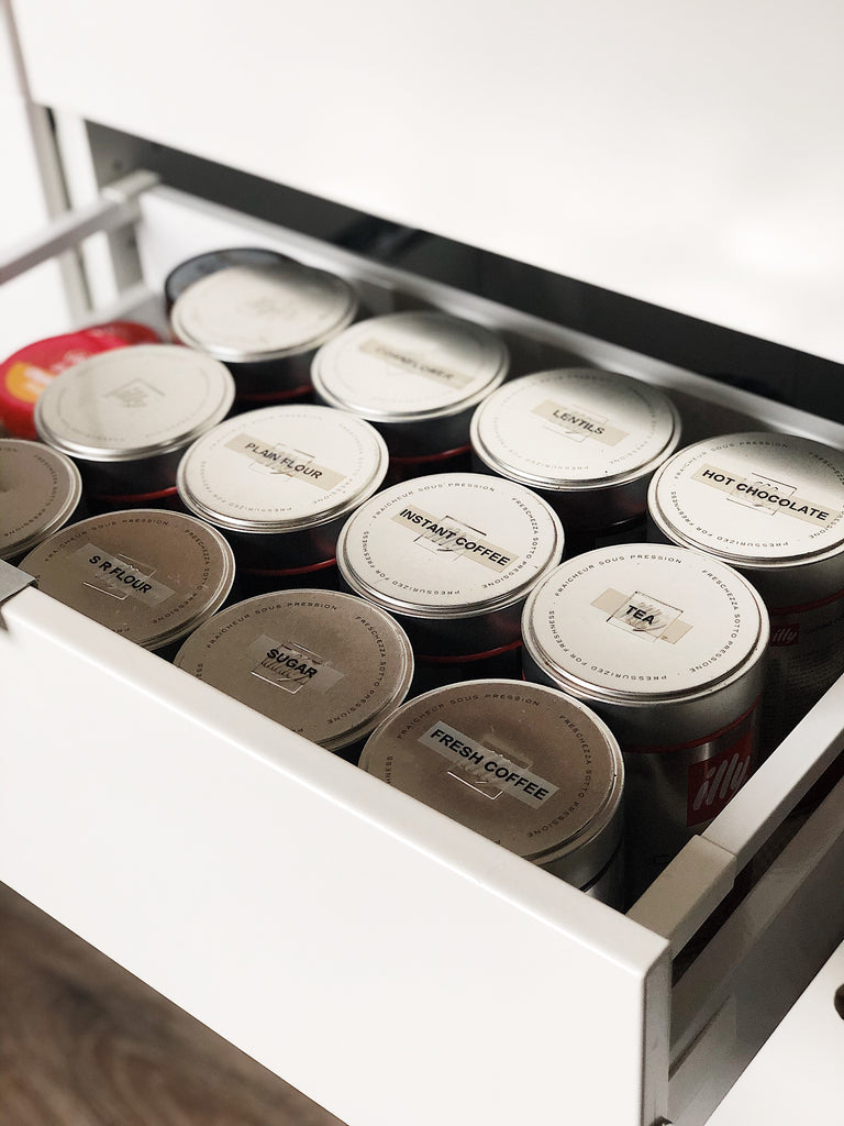 Food storage ideas for campervan space saving Illy coffee tins