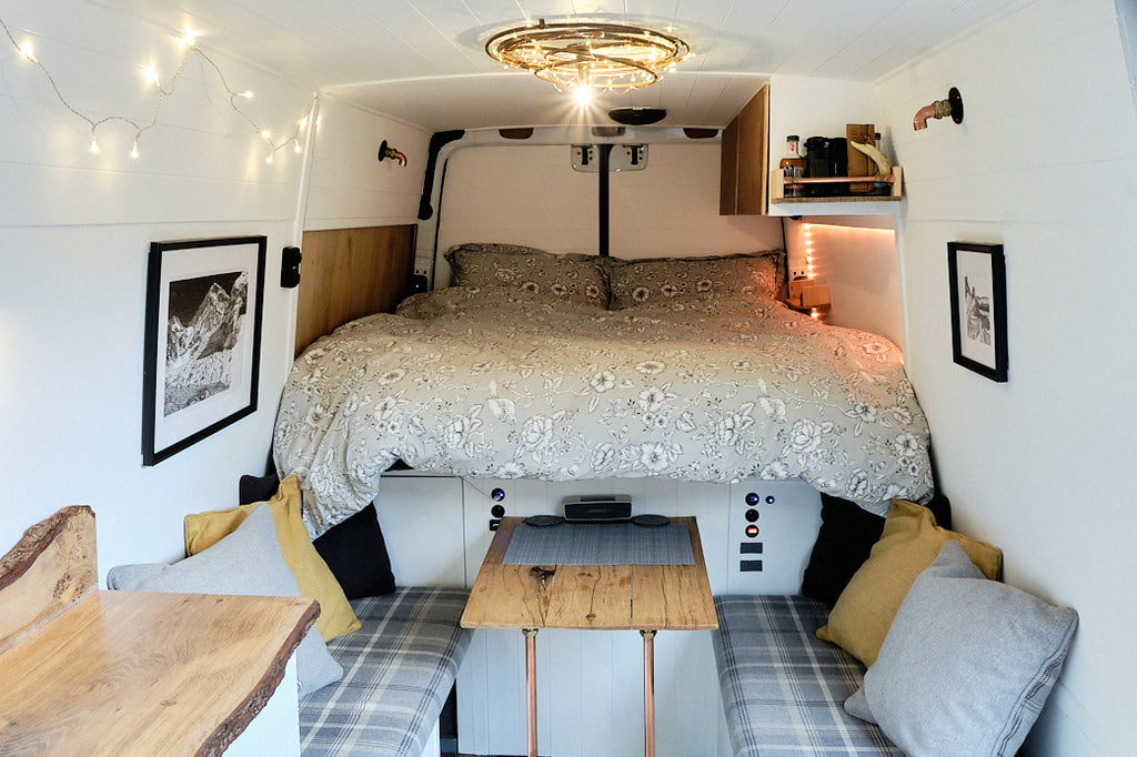 Living full time in a Mercedes sprinter campervan length ways bed layout