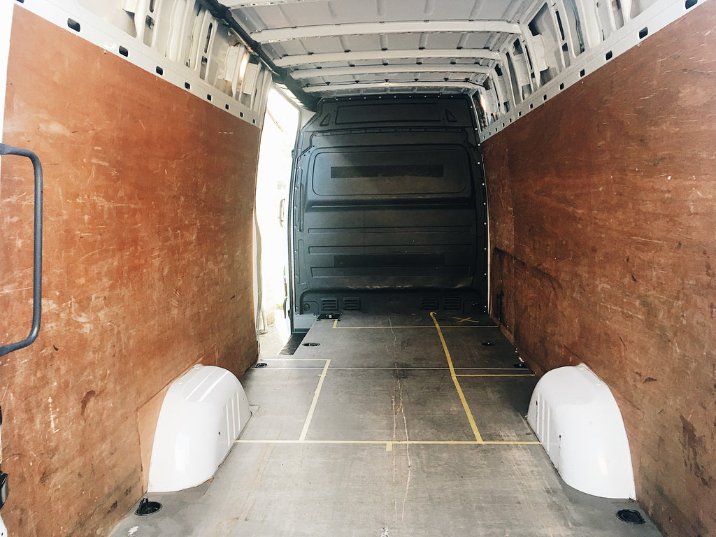 Mercedes sprinter campervan conversion plywood lining and bulkhead