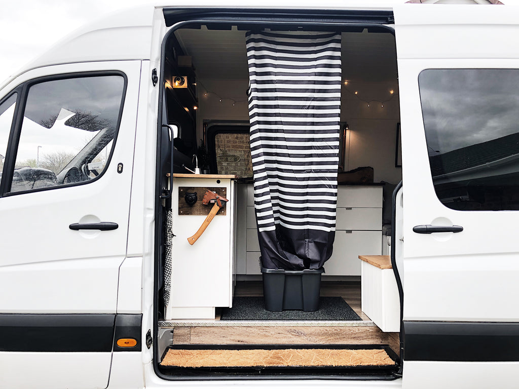 Pop up shower in a Mercedes sprinter campervan