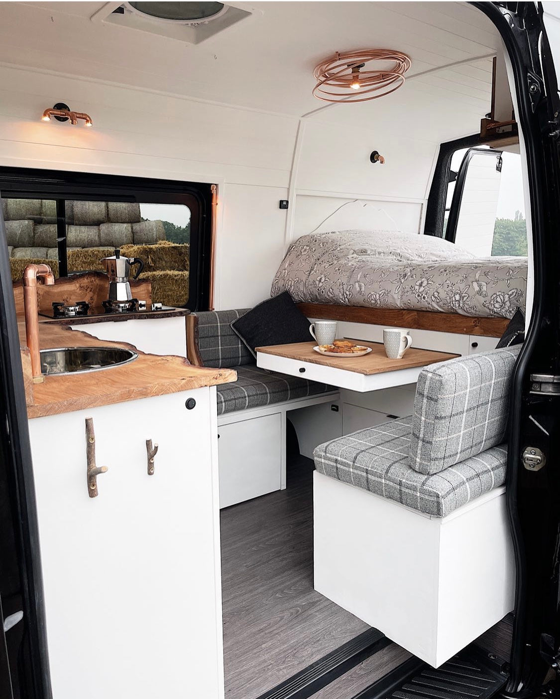 Slider out table in a campervan