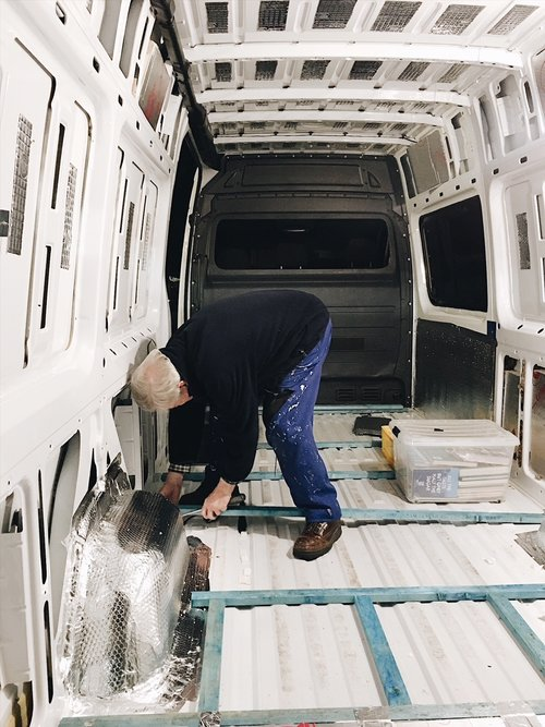 campervan floor insulation in a self built sprinter conversion