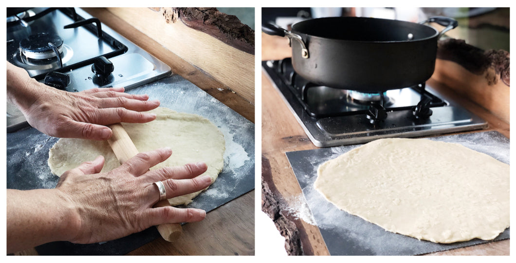 Pan Pizza dough rolling and method