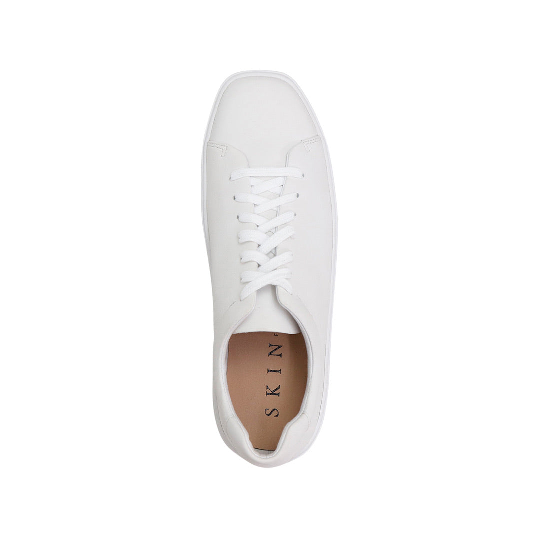 Nude/SKIN Footwear ll AYDAN  Leather Square Toe Sneaker /white