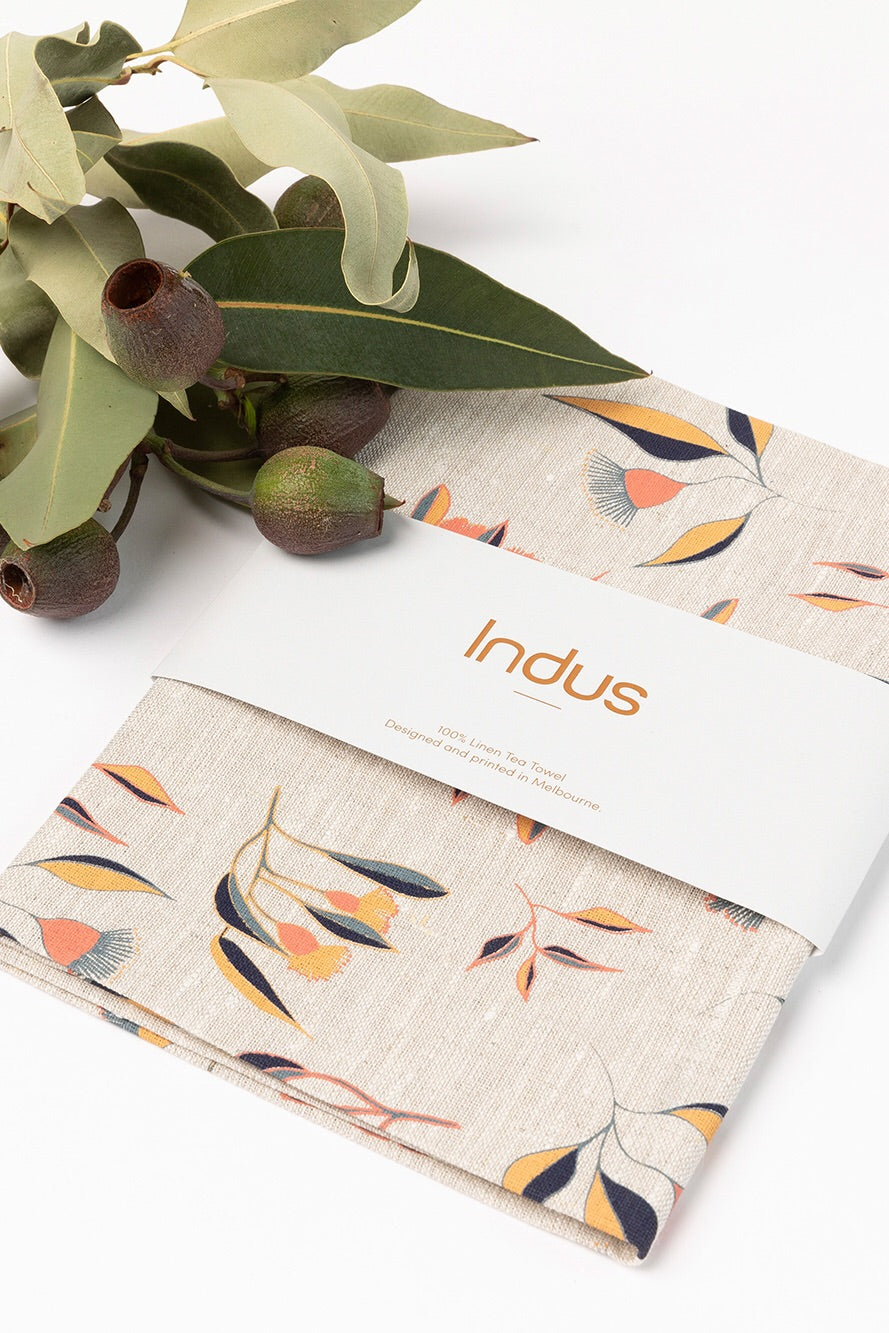 Indus Design // FLOWERING GUM Linen Tea Towel
