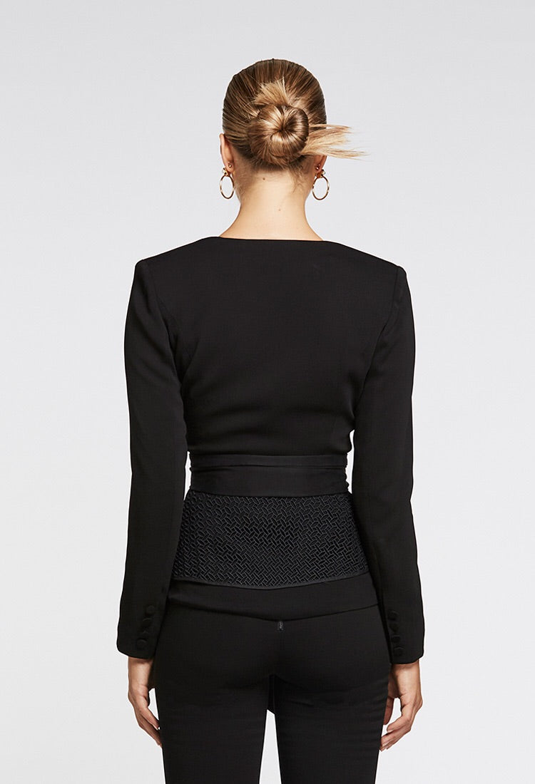 OnceWas II Le Fontaine Lace Peplum Jacket / Black