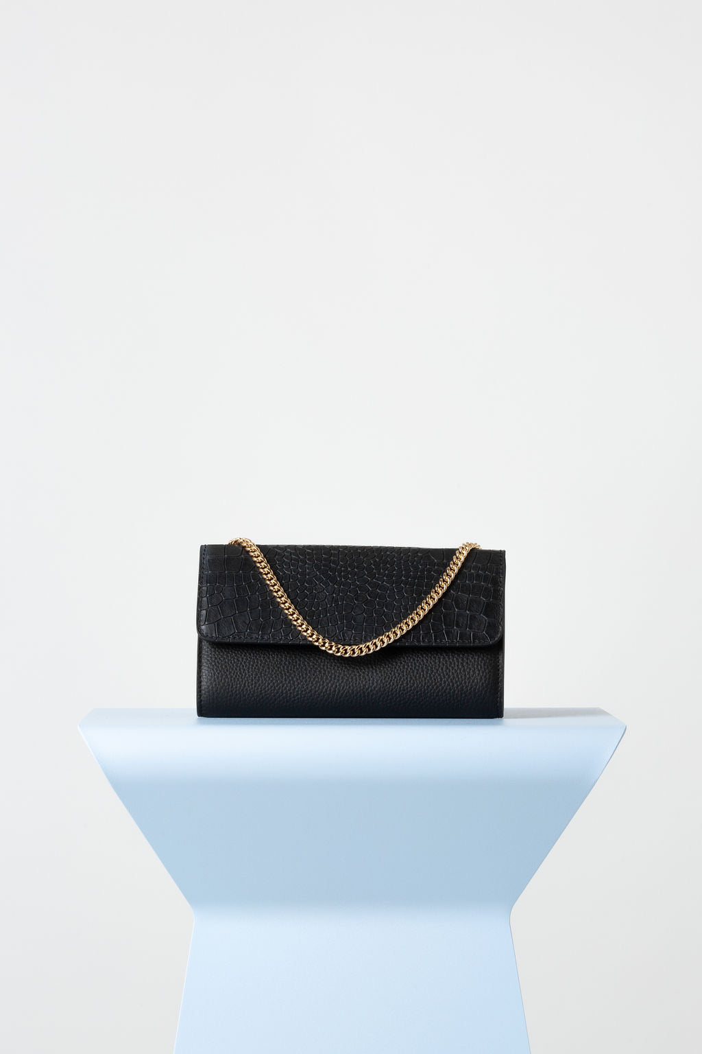 VASH II FRANKIE Evening Fold Over Mini Bag / black - croc