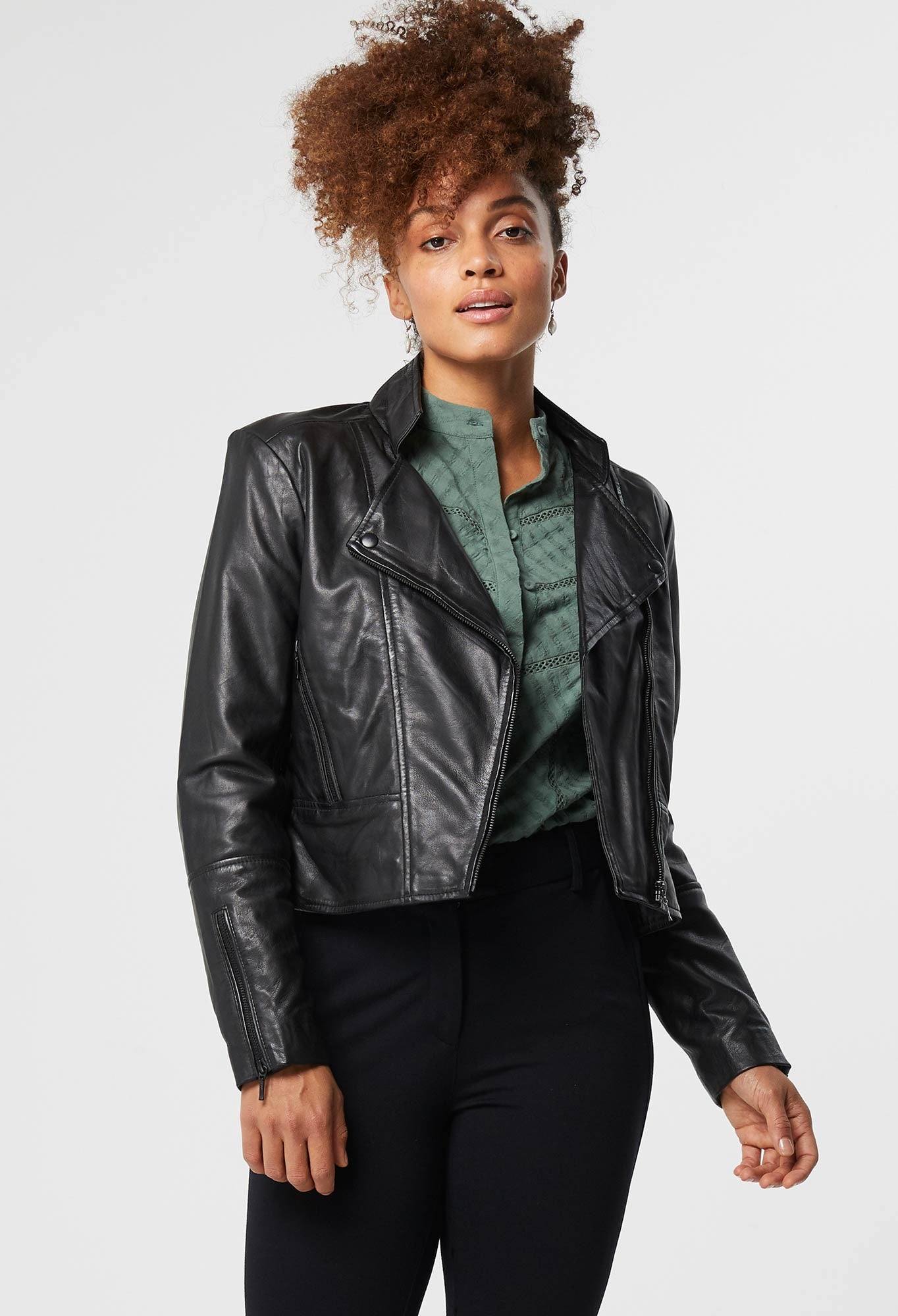 OnceWas II RECOLLECTION LEATHER BIKER JACKET / black