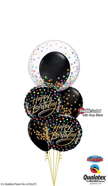 Birthday Black & Gold Confetti - Balloonery