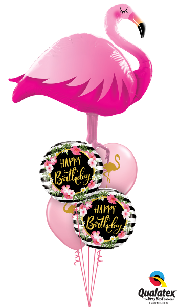 Golden Floral Flamingo Birthday - Balloonery