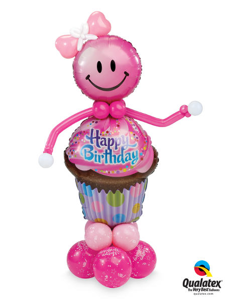 Smilin Birthday Cupcake - Balloonery