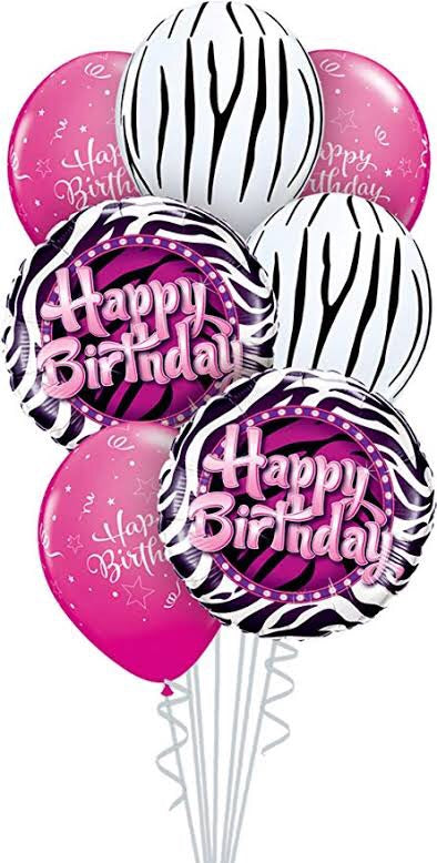 Happy Birthday Pink Zebra - Balloonery