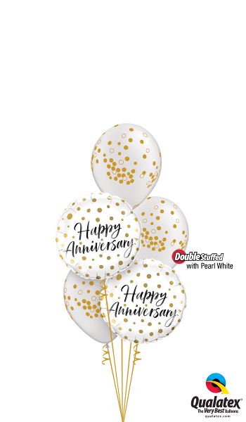 Happy Anniversary Gold Dots - Balloonery