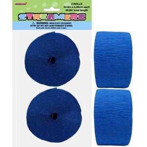 Paper Crepe Streamer Royal Blue 24m - Balloonery
