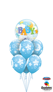 Pale Blue Baby Boy Moon & Stars Deluxe - Balloonery