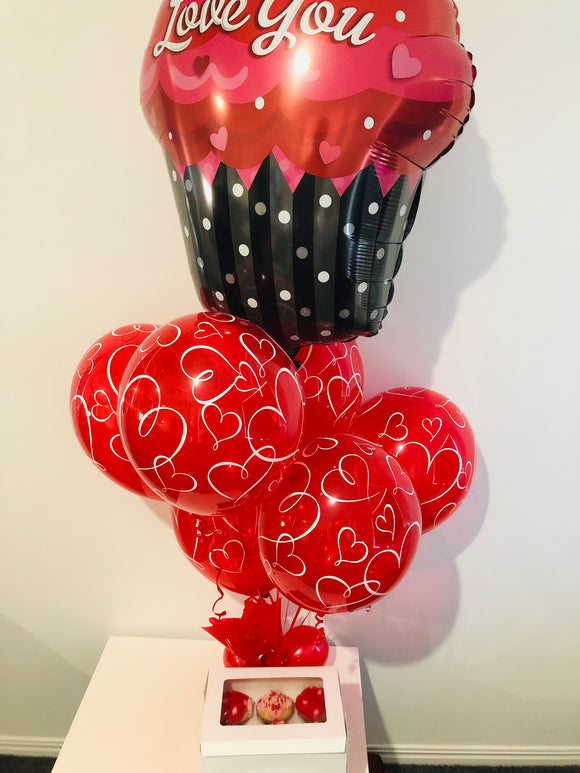 Balloon Bouquet & 6 Valentines Cupcakes - Balloonery