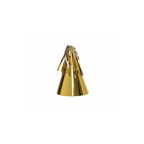 Paper Party Hat Metallic with Tassel Topper - 10Pk - Balloonery