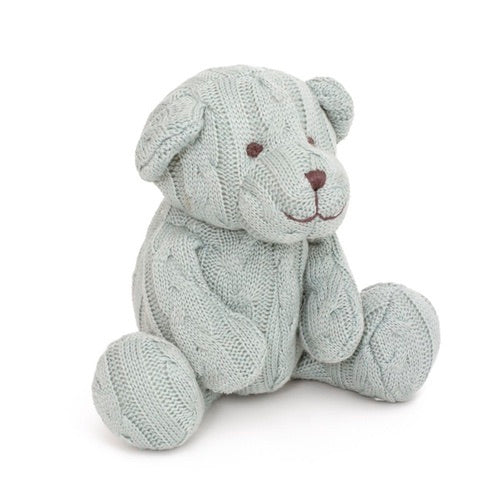 Soft Toy Teddy Zac Cable Knit Bear Baby Blue
