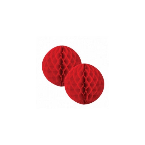 Paper Party Honeycomb Ball Apple Red 15cm (2pk) - Balloonery