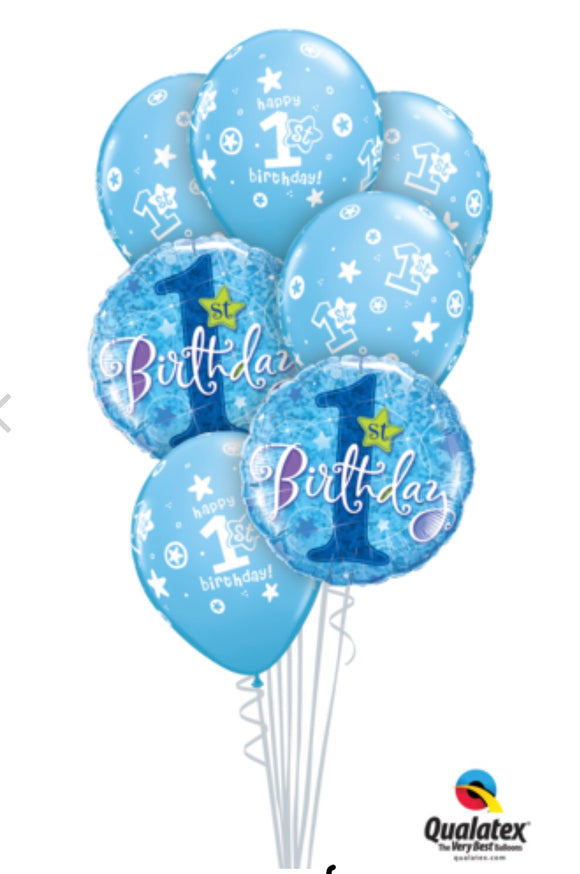 Blue 1st Birthday - Balloonery