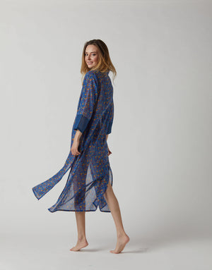 KAFTAN DOT FLOWERS IN PERSIAN BLUE