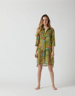 SHIRT DRESS ANEMONE IN GREEN FLORAL
