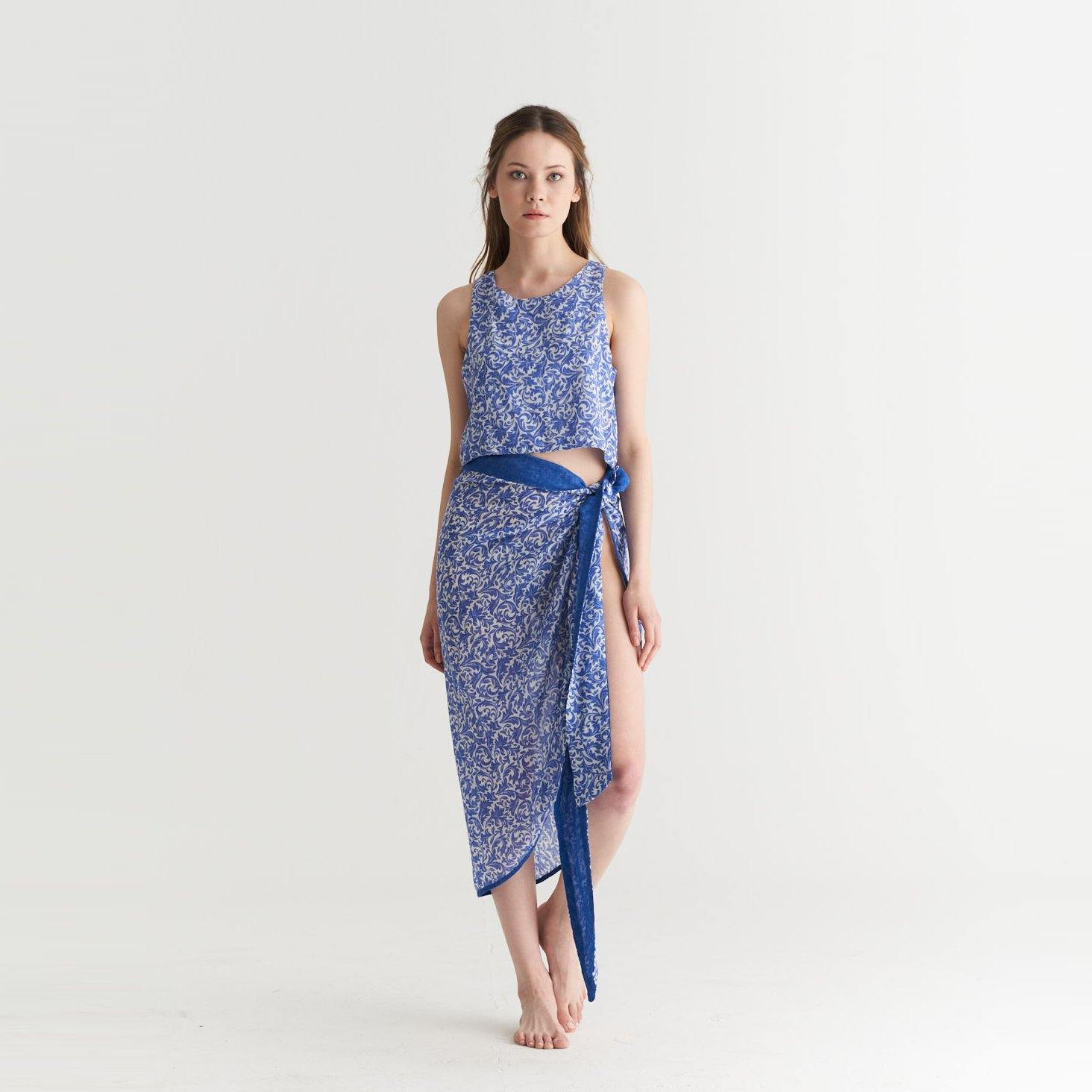 PAREO - CROP TOP DAMASK COBALT BLUE