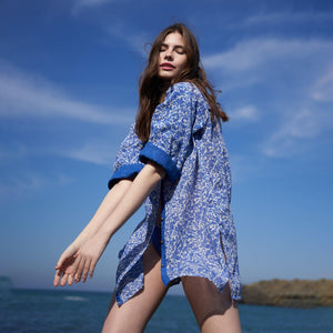 SHIRT DRESS DAMASK COBALT BLUE