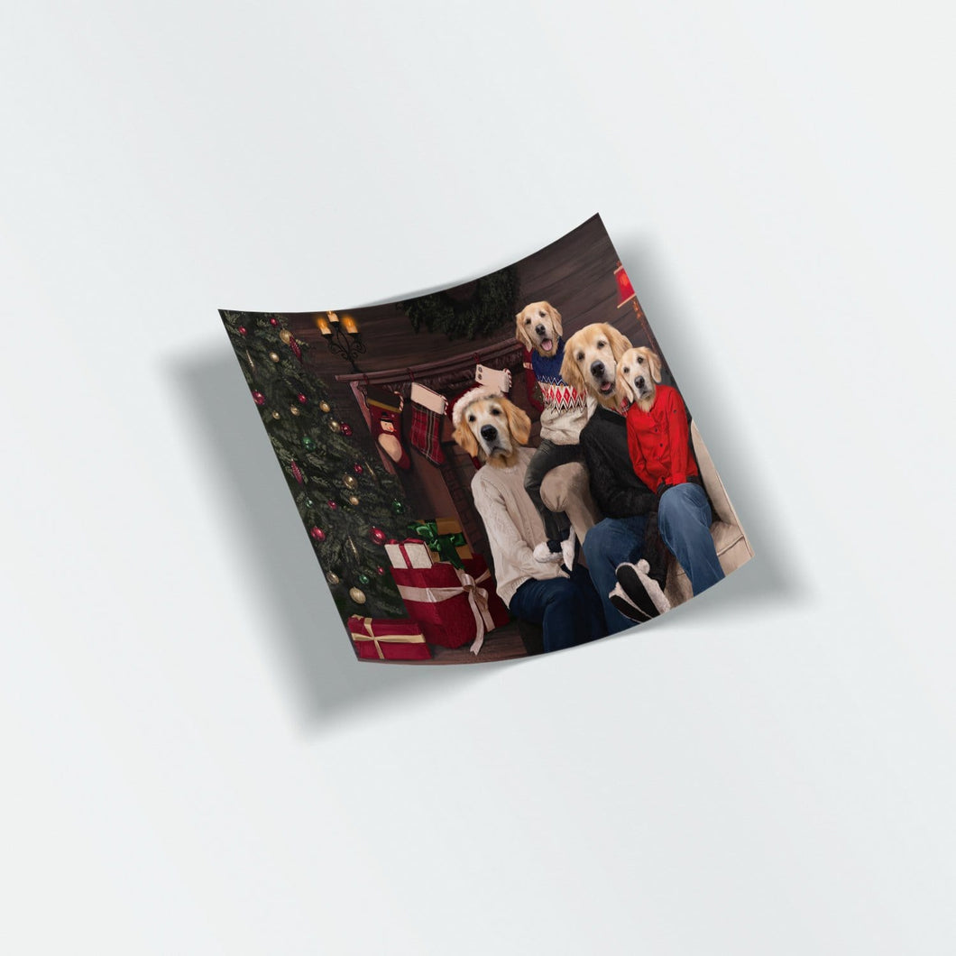 The Family Christmas (Four Pets) - Custom Stickers