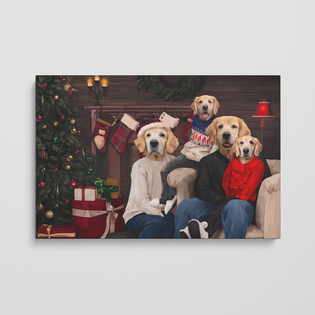 The Family Christmas (Four Pets) - Custom Pet Canvas
