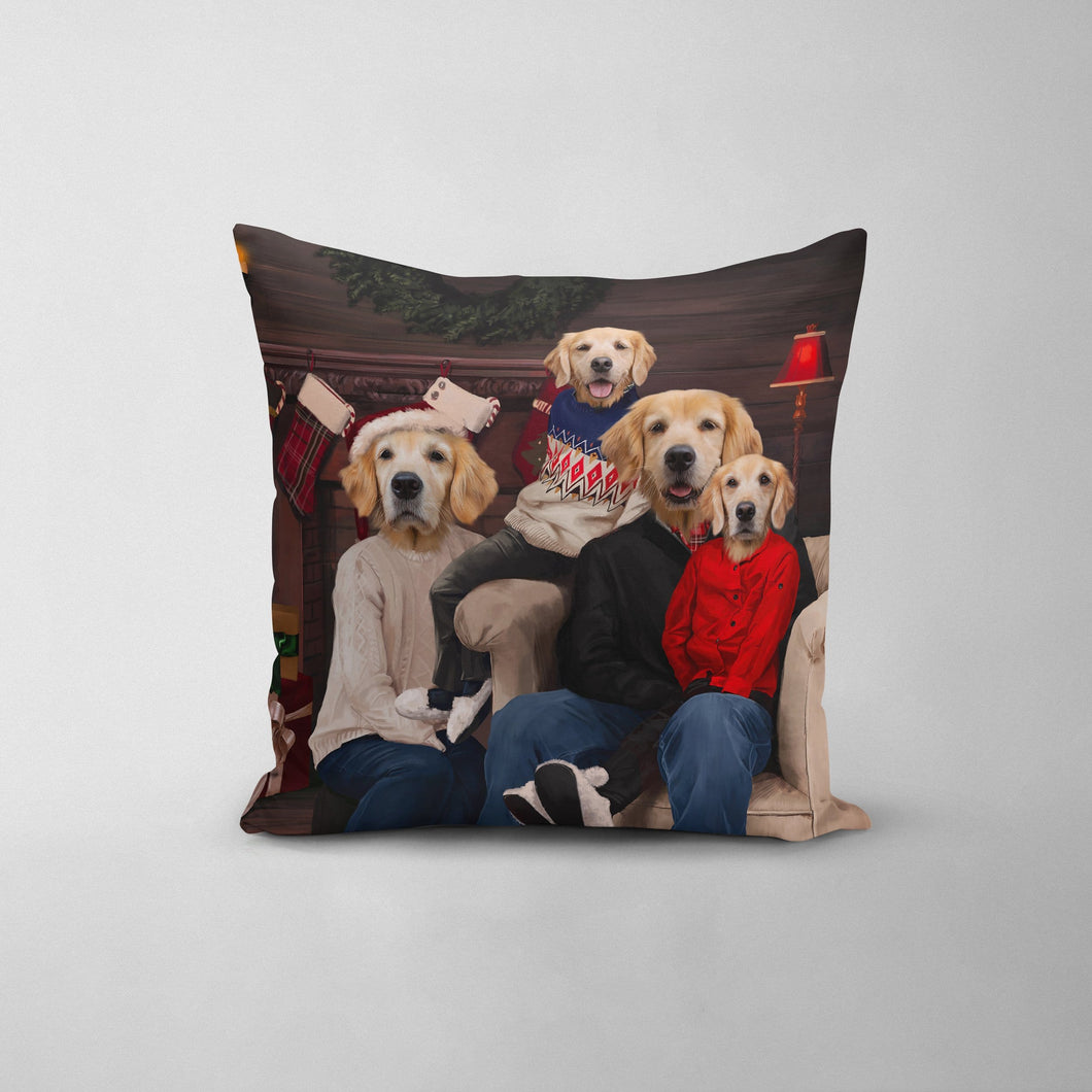 The Family Christmas (Four Pets) - Custom Throw Pillow