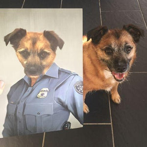 The Female Police Officer - Custom Pet Canvas