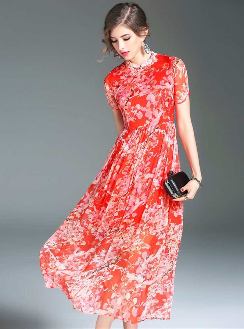 Orange Printed Short Sleeve Maxi Dress