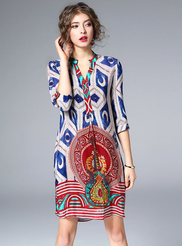 V-neck Loose Printed Shift Dress