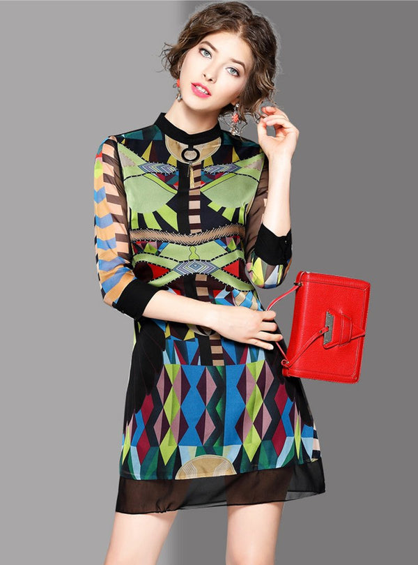 Multicolor Stand Collar Geometric Printed Mini Dress